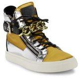 Giuseppe Zanotti Metallic Leather & Satin Chain High-Top Sneakers