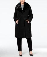 Jones New York Plus Size Faux-Fur-Collar Walker Coat