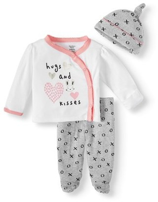 Gerber Baby Girls' Organic Cotton Take Me Home Outfit Set, 3-Piece