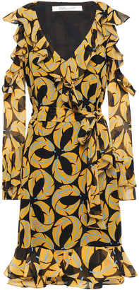 Diane von Furstenberg Cold-shoulder Ruffled Printed Georgette Dress