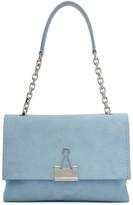 Off-White Off White Blue Medium Soft Velour Binder Clip Bag