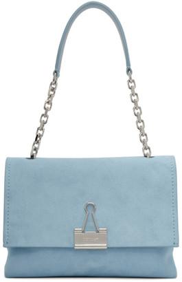Off-White Blue Medium Soft Velour Binder Clip Bag