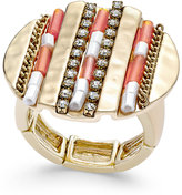 Thalia Sodi Gold-Tone Beaded and Pavé Hammered Disc Stretch Ring, Only at Macy's