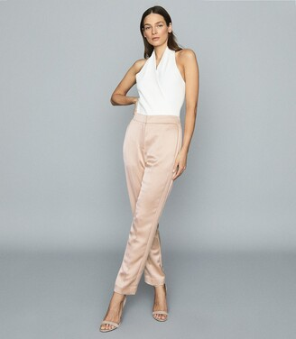Reiss Savannah - Satin Straight-leg Trousers in Pale Pink