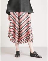 Pleats Please Issey Miyake Union Stripe wide-leg cropped pleated trousers