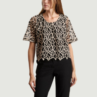 Heimstone Black Polyester Roche Wallace Lace T Shirt - s | polyester | black - Black/Black