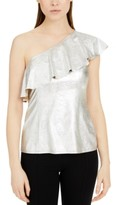 INC International Concepts Inc Metallic Ruffled One-Shoulder Top, Created for Macy's