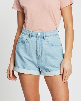 Cotton On Women's Blue Denim - High-Rise Flashback Denim Shorts - Size 8 at The Iconic