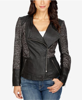 Lucky Brand Leather Mixed-Media Moto Jacket