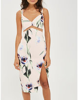 Topshop Tulip-print mesh-insert midi dress