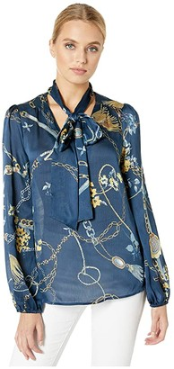 WAYF Rowley Pussy Bow Blouse (Navy Scarf Print) Women's Blouse