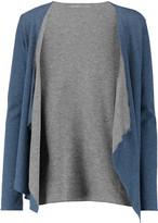 Majestic Two-tone slub cotton and cashmere-blend cardigan