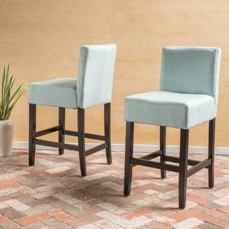 "Latitude Run Ingleside Bar & Counter Stool Seat Height: Counter Stool (26"" Seat Height), Upholstery: Light Blue"