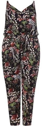 Mela London Curve Floral Print Drawstring Plus Size Jumpsuit