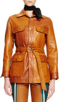Chloé Button-Front Belted Leather Jacket, Ochre
