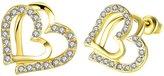 BODYA 18k Gold plated Women Girls doule open Heart Cubic Zirconia Crystal love Studs Earrings