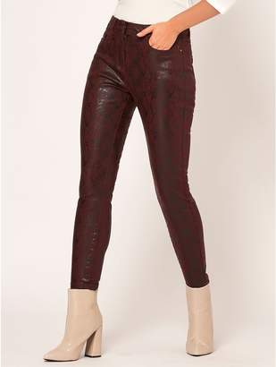 M&Co Petite snake print coated jeans