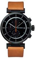 Issey Miyake W Unisex Quartz Watch with Black Dial Chronograph Display and Beige Leather Strap SILAY006
