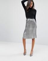 Miss Selfridge Metallic Pleated Midi Skirt