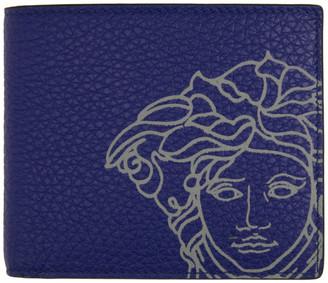 Versace Blue Pop Medusa Bifold Wallet