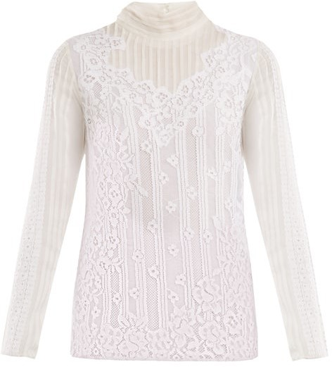 Valentino High Neck Chantilly Lace Blouse - Womens - White