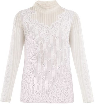 Valentino High-neck Chantilly-lace Blouse - Womens - White
