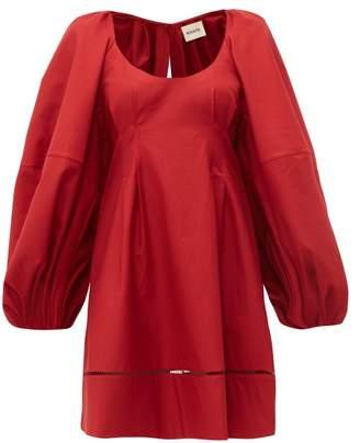 KHAITE Madison Open-back Cotton Dress - Womens - Burgundy