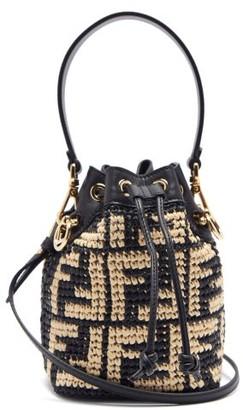 Fendi Mon Tresor Mini Ff-logo Raffia Bucket Bag - Black Multi