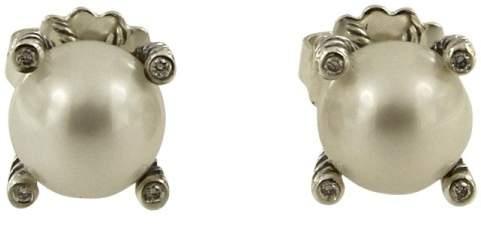 David Yurman Sterling Silver Pearl and Diamond Earrings