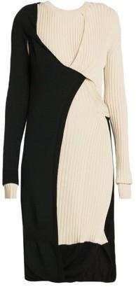Bottega Veneta Twisted Layer Ribbed Mohair-Blend Dress