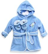 SpaSilk Baby Size 0-9M Airplane Hooded Terry Bathrobe and Booties Set in Blue