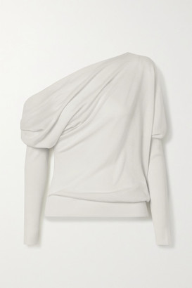 Tom Ford One-shoulder Cashmere And Silk-blend Sweater - Ivory