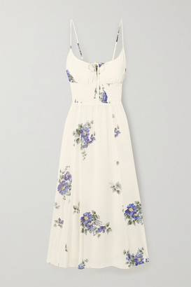 Reformation Bran Shirred Floral-print Georgette Midi Dress - Off-white