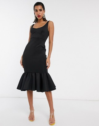 ASOS DESIGN cami scoop neck corset detail midi dress with pep hem