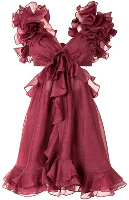 Zimmermann Ruffled Cut-Out Dress