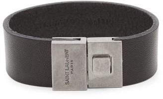 Saint Laurent Engraved-clasp Leather Bracelet - Mens - Black