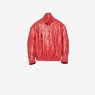 Balenciaga Biker Jacket in red shiny grained calfskin