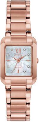 Citizen Eco-Drive Women Bianca Diamond-Accent Rose Gold-Tone Stainless Steel Bracelet Watch 22mm