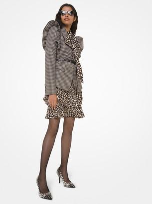Michael Kors Collection Graphic Check Wool Ruffle-Shoulder Blazer