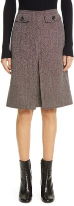 Victoria Beckham Box Pleated Wool Tweed Skirt