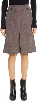 Victoria Beckham Box Pleated Wool Tweed Skirt