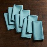 Crate & Barrel Set of 8 Fete Aqua Blue Cloth Napkins