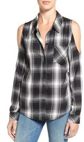 Sanctuary Delaney Plaid Cold Shoulder Shirt