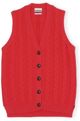 Ganni Cotton Knit Vest in Lollipop