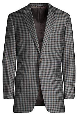 Canali Men's Classic-Fit Gingham Wool Jacket