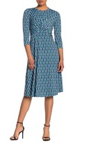 Donna Morgan Twist Front 3/4 Sleeve Pleated Dress (Petite)