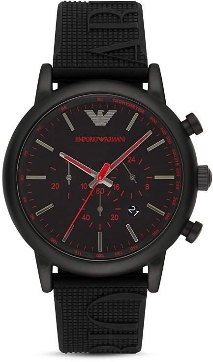 Emporio Armani Chronograph Black Silicone Watch, 28 mm