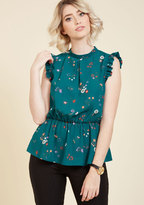 ModCloth Peplum Professional Sleeveless Top in Teal Flowers in 1X