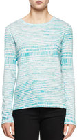 Proenza Schouler Long-Sleeve Multi-Striped T-Shirt, Light Blue/Turquoise