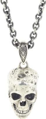 John Varvatos Distressed Sterling Silver Skull Necklace